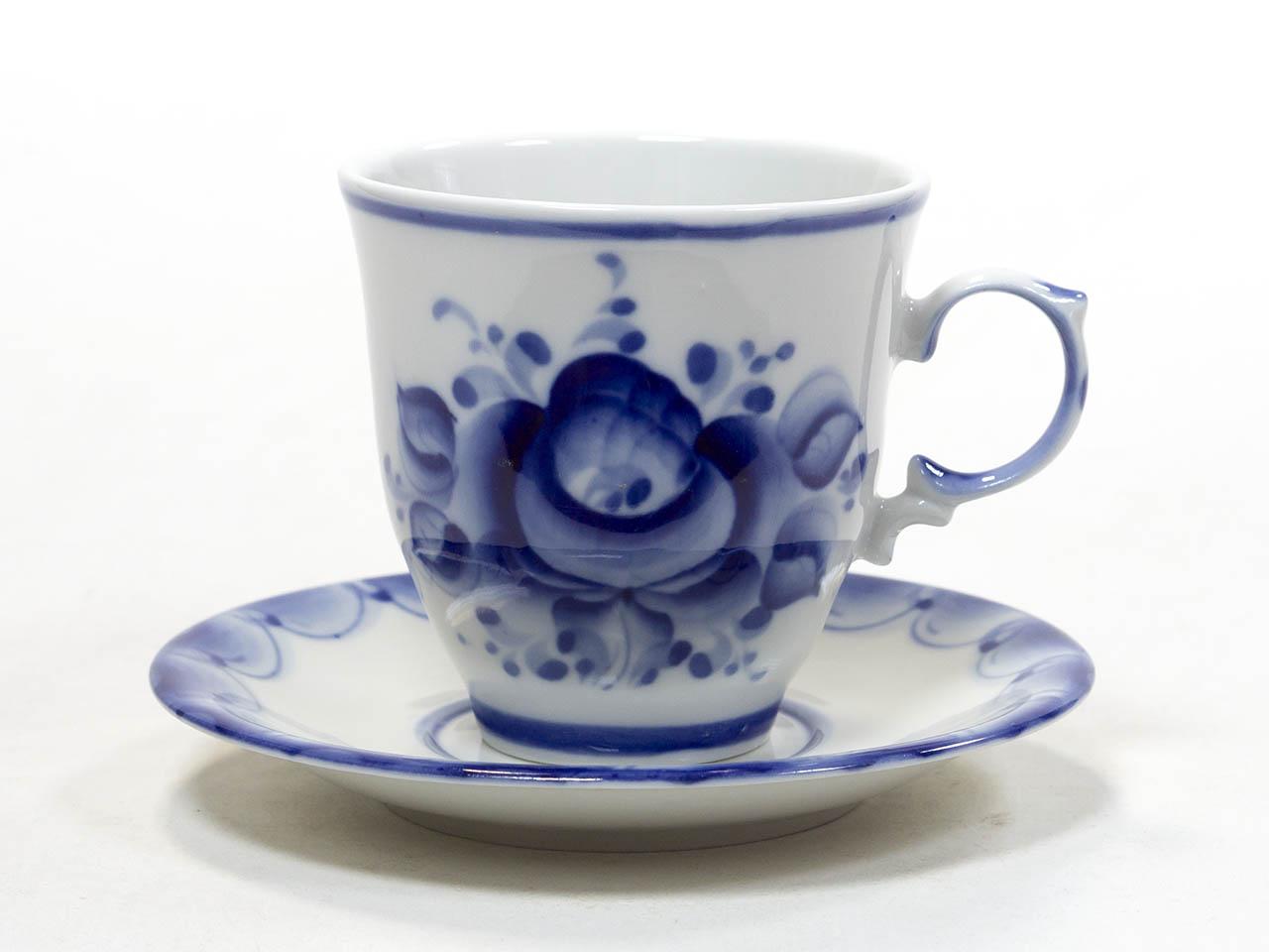 Фото Чашка чайная с блюдцем Гжель Чародейка 270 мл