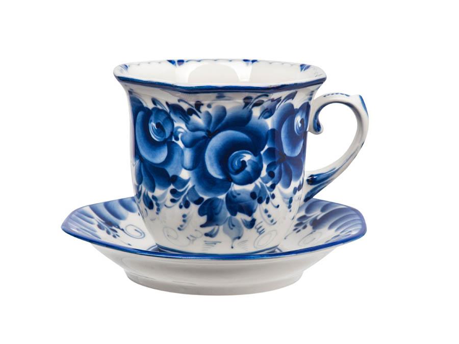 Фото Сервиз чайный Гжель Граненый 15 предметов на 6 персон Авторская роспись