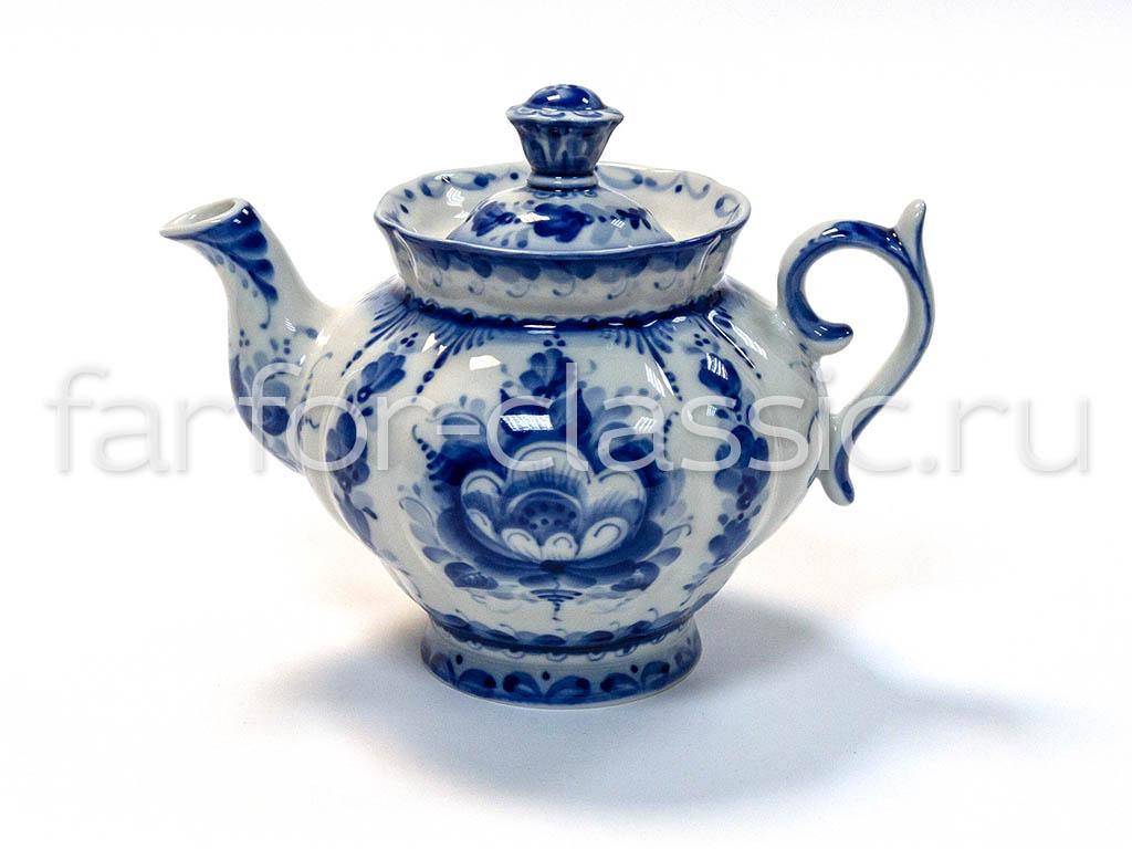 Фото Сервиз чайный Гжель Орхидея 15 предметов на 6 персон Авторская роспись