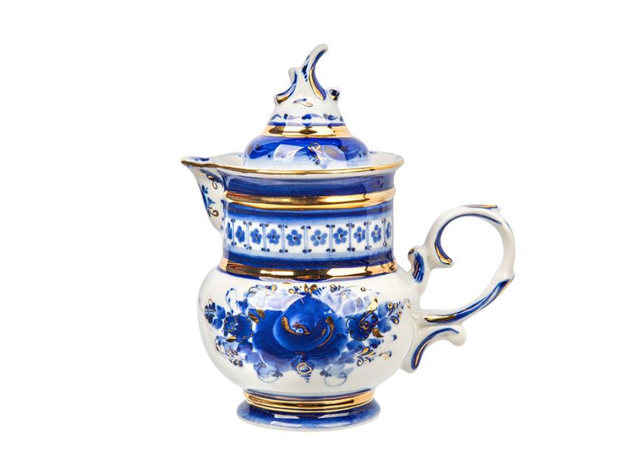 Фото Сервиз чайный Гжель Соната золото, форма Голубка, 15 предметов на 6 персон