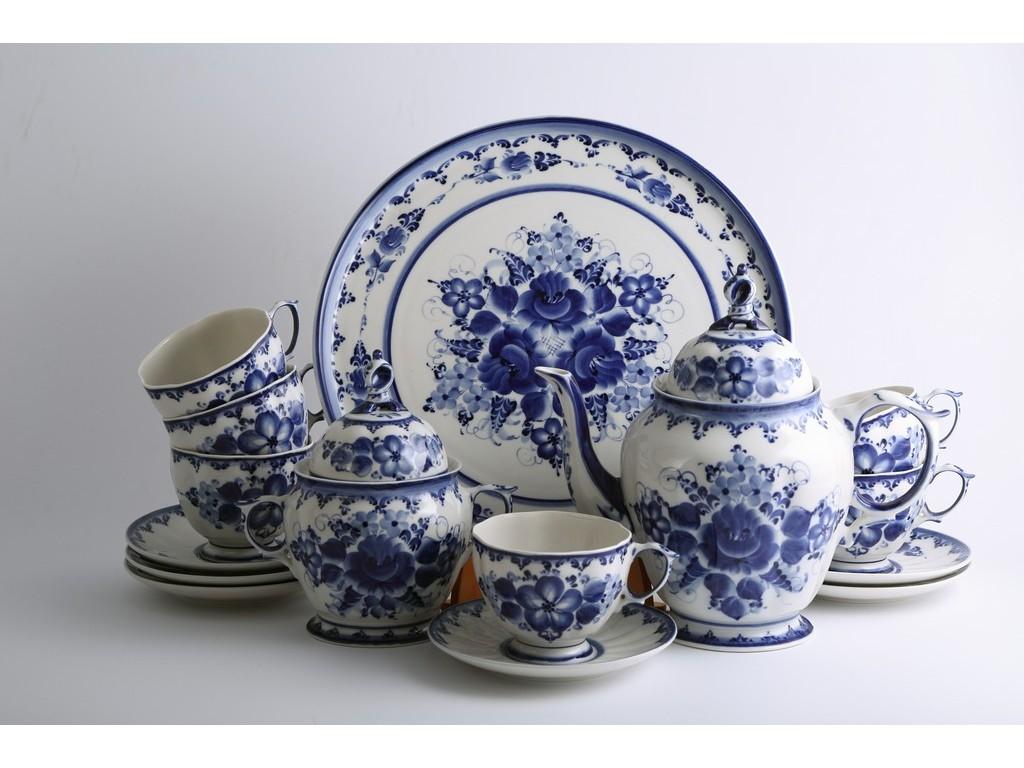 Фото Сервиз чайный Гжель Лиза, 15 предметов на 6 персон